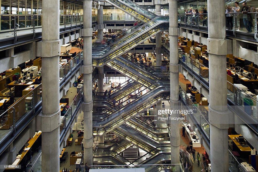 Lobby of Lloyds headquarters, London, Uk