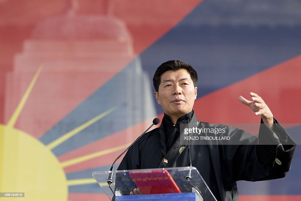 <a gi-track='captionPersonalityLinkClicked' href=/galleries/search?phrase=Lobsang+Sangay&family=editorial&specificpeople=7725923 ng-click='$event.stopPropagation()'>Lobsang Sangay</a>, Sikyong (prime minister) of the Tibetan Government-in-Exile, delivers a speech during a European rally marking a failed 1959 uprising against China on March 14, 2015 in Paris. That uprising forced the Dalai Lama to flee, and the Tibetan spiritual leader has been living in exile in India ever since. Both the Dalai Lama and the leader of Tibet's exiled government <a gi-track='captionPersonalityLinkClicked' href=/galleries/search?phrase=Lobsang+Sangay&family=editorial&specificpeople=7725923 ng-click='$event.stopPropagation()'>Lobsang Sangay</a> advocate greater autonomy for the Tibetan region within China, but Beijing accuses them of being separatists and wanting flat-out independence.