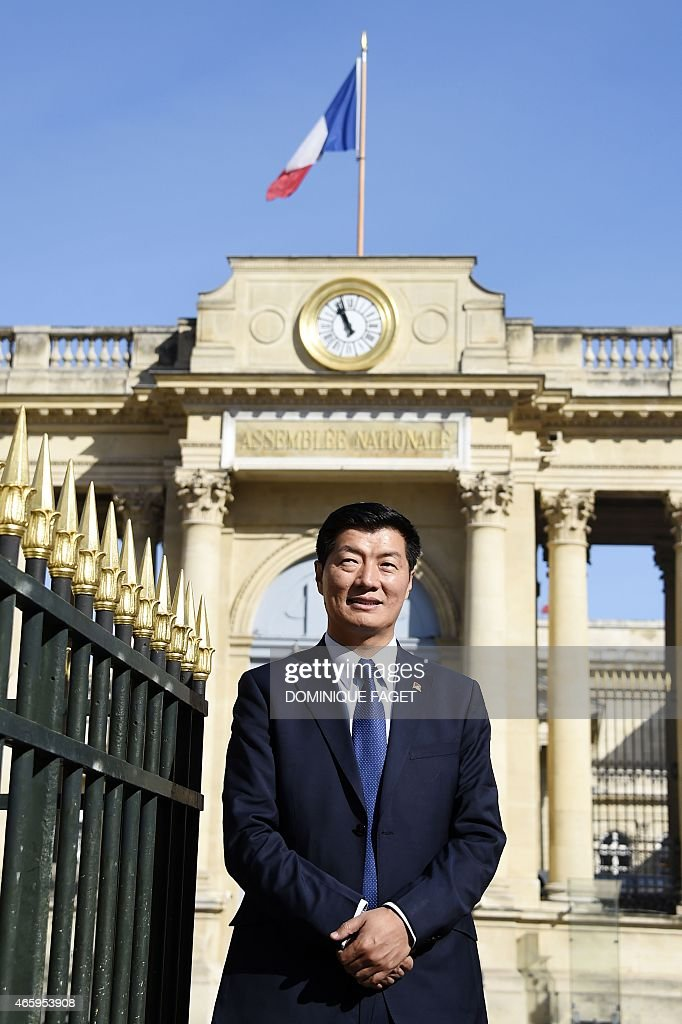 <a gi-track='captionPersonalityLinkClicked' href=/galleries/search?phrase=Lobsang+Sangay&family=editorial&specificpeople=7725923 ng-click='$event.stopPropagation()'>Lobsang Sangay</a>, Sikyong (prime minister) of the Tibetan Government-in-Exile, poses in front of the French National Assembly on March 12, 2015 in Paris.