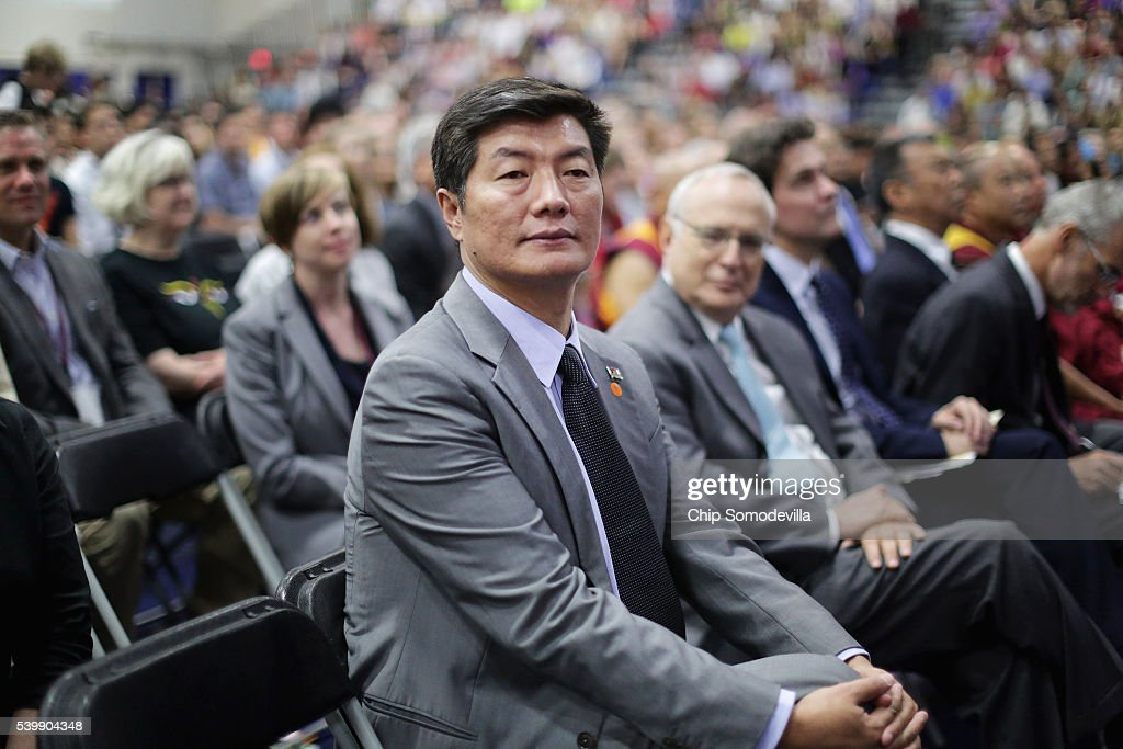 <a gi-track='captionPersonalityLinkClicked' href=/galleries/search?phrase=Lobsang+Sangay&family=editorial&specificpeople=7725923 ng-click='$event.stopPropagation()'>Lobsang Sangay</a>, the Sikyong (or prime minister) of the Tibetan Government-in-Exile, attends an event with the Dalai Lama at the Bender Arena on the campus of American University June 13, 2016 in Washington, DC. The exiled Tibetan Buddhist leader delivered a speech titled 'A Peaceful Mind In A Modern World.'