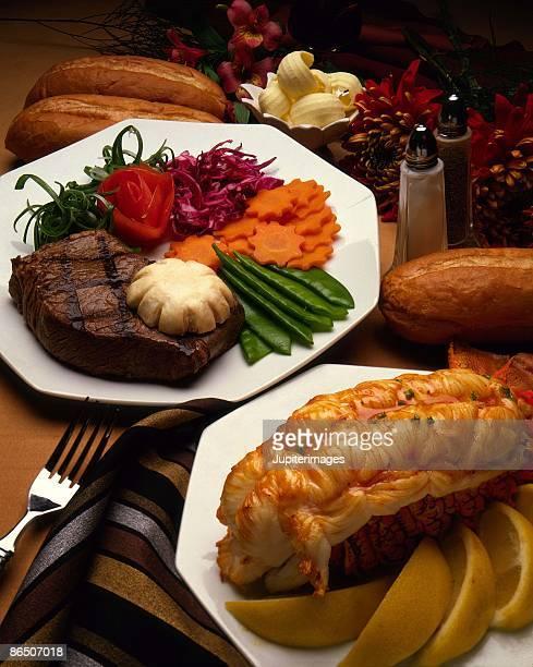 Lobster and steak dinner