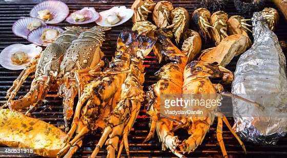 lobster Barbecue Grill seashell meat : Stock Photo