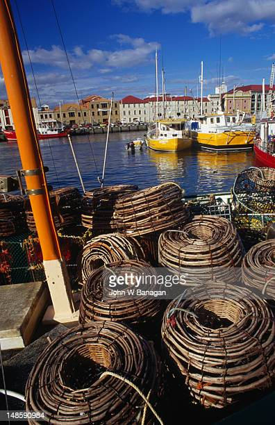 Lobster cages and fishing boats at Victoria Dock.