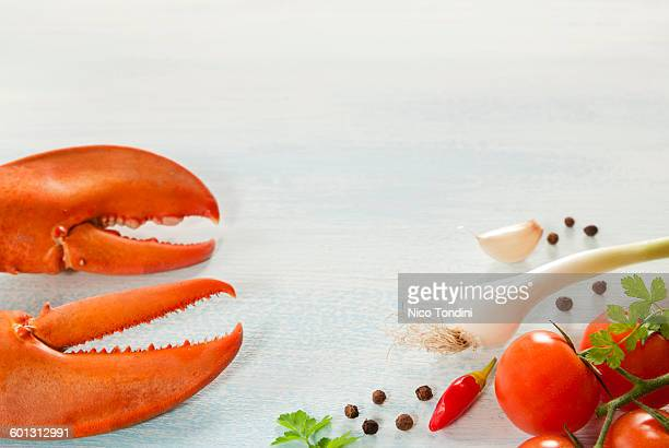 Lobster claws and ingredients for cooking