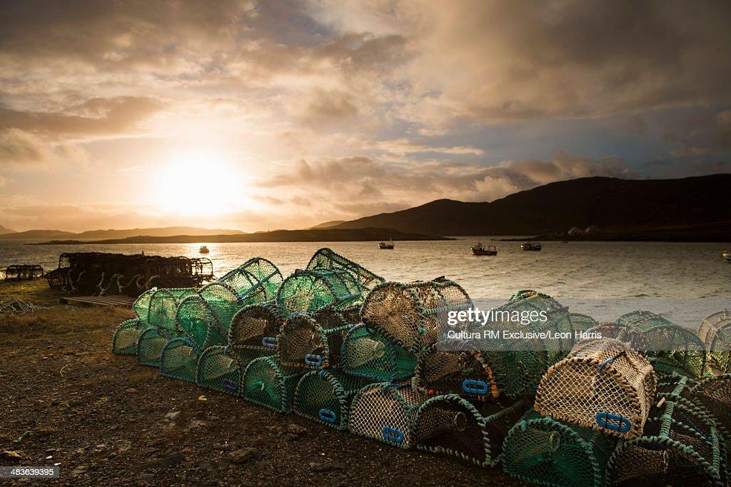 Lobster creels on Isle of Vatersay, Hebrides