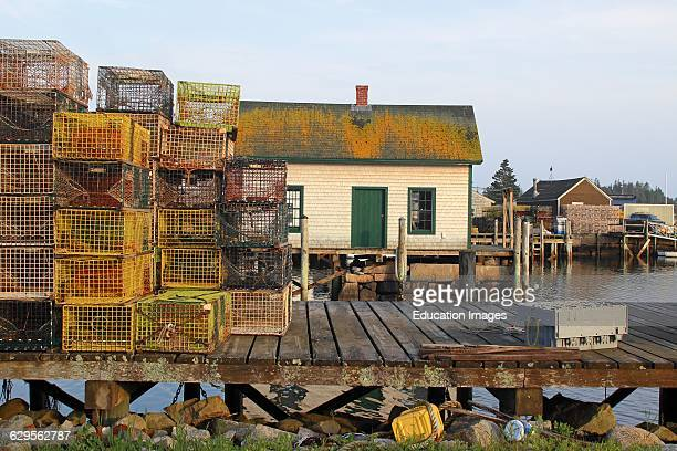 Lobster docks with sheds Vinalhaven Island Maine New England USA