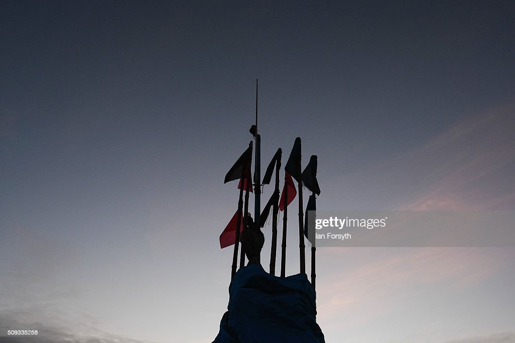 Lobster pot marker flags are seen against the morning sky on February 10, 2016 in Redcar, England. The inshore fishing fleet at Redcar originated in the early 14th Century with crab, lobster and fishing bringing in much needed income to local fishermen. As the fishing industry has steadily declined so to the fleet has reduced in size so that today only a small number of boats still put to sea from the town to continue the fishing heritage on the east coast of England.