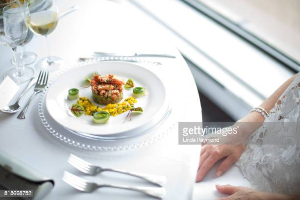 Lobster risotto in a white plate