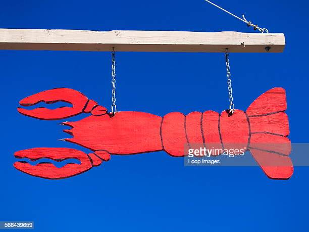 A lobster sign on a restaurant in Bar Harbour in Maine