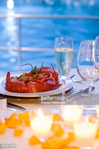 Lobster with Pasta on Table at the Hotel Terme di Saturnia