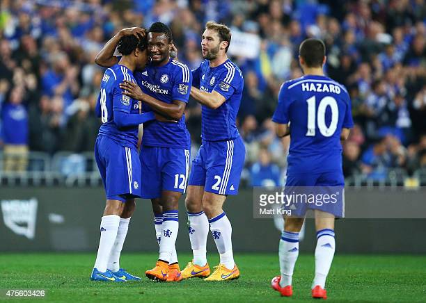 Loc Remy of Chelsea celebrates with team mates after scoring a goal during the international friendly match between Sydney FC and Chelsea FC at ANZ...
