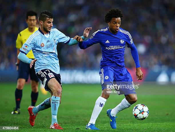 Loc Remy of Chelsea is challenged by Terry Antonis of Sydney FC during the international friendly match between Sydney FC and Chelsea FC at ANZ...