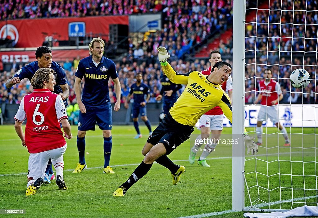 Locadia (L) scores a goal during the Dutch Cup final match between AZ Alkmaar and PSV Eindhoven on May 9, 2013 at the Kuip stadium in Rotterdam, The Netherlands.