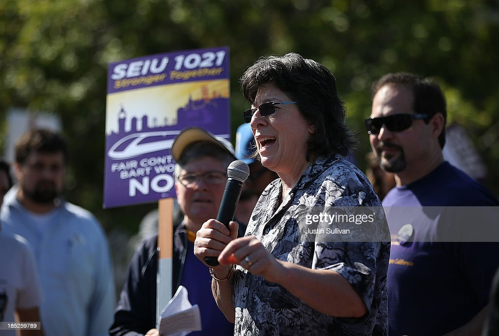 Local 1021 president Roxanne Sanchez speaks to Bay Area Rapid Transit (BART) workers during a rally in front of the Lake Merritt BART station on the first day of the BART strike on October 18, 2013 in Oakland, California. For the second time this year, BART workers have gone on strike after contract negotiations between BART management and the transit agency's two largest unions fell apart on Thursday afternoon. Management and unions agreed on the financial specifics of the contract but differed on workplace safety rules.