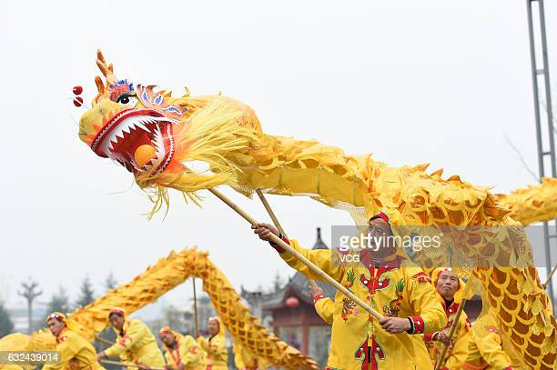 Local artists practice dragon dance on January 22 2017 in Zunyi Guizhou Province of China Chinese people perform dragon dance lion dance and local...