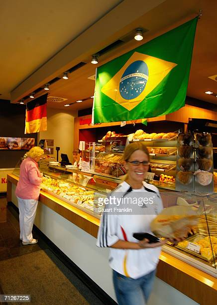 A local backery displays the flags from germany and Brazil before the Brazil National Football Team training session for the FIFA World Cup Germany...