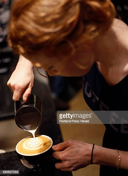 Local baristas compete latte art throwdown at Coffee By Design to see who can make the best latte art Megan Michaels the manager at Speckled Ax...