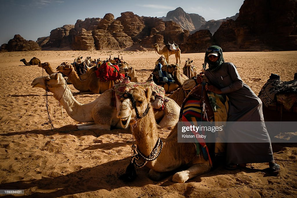 CONTENT] A local bedouin man waits for visitors to take guided rides on his camels in Wadi Rum desert.
