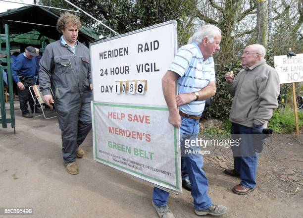Local campaigners from the Residents Against Inappropriate Development dismantle their camp that was set up opposite a travelers camp on Eaves Green...