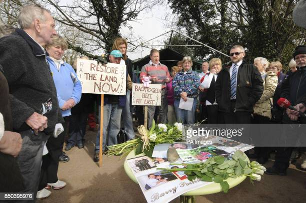 Local campaigners from the Residents Against Inappropriate Development hold at minutes silence in memory of the protestors who died during the 3 year...