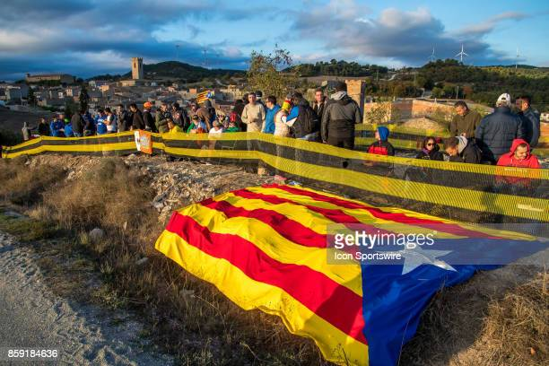 Local Catalans proudly display their Catalan Flag during second run of the Savalla Stage of the Rally de Espana round of the 2017 FIA World Rally...