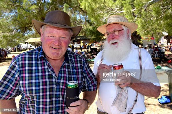 Local characters Tom Bibby from Ararat and Pat Tobin from Maroona at Great Western Racecourse on January 22 2017 in Great Western Australia