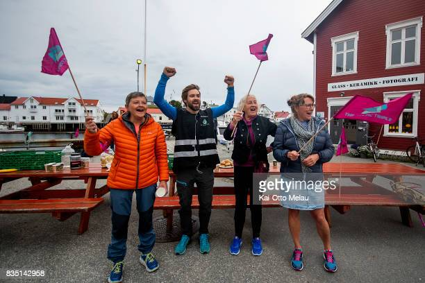 Local crew and race director Kristian Nashoug cheering for the athletes at The Arctic Triple // Lofoten Triathlon Olympic distance on August 18 2017...