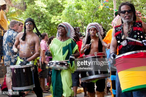 local drummers playing on their instruments at St.John Festival, USVI