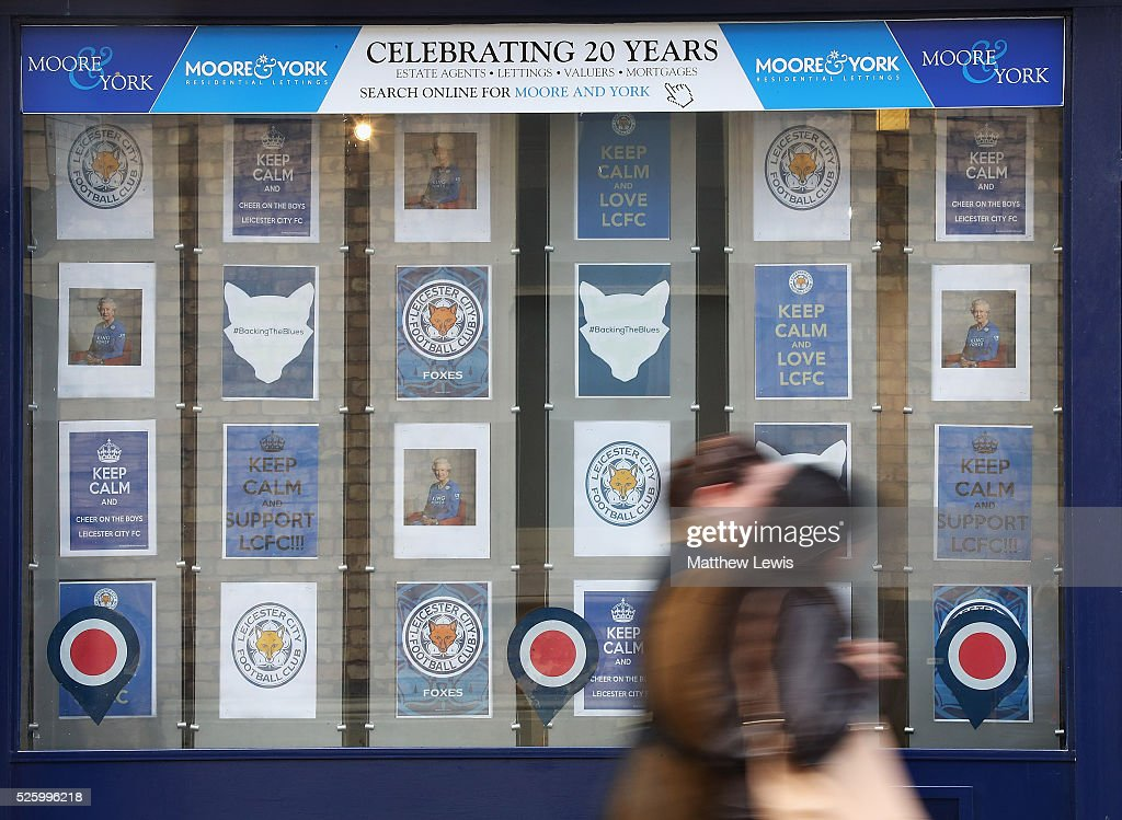 Local estate agents show their support to Leicester City FC during a Leicester Backing the Blues Campaign in support of Leicester City on April 29, 2016 in Leicester, England.
