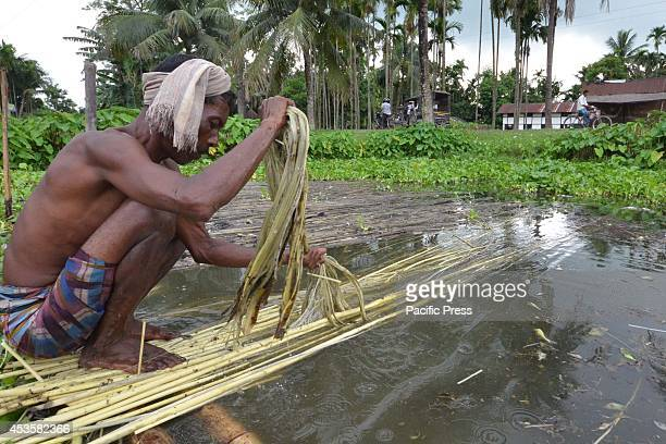 A local farmer cleans a jute fiber that can be spun into coarse strong threads at a village in Nagaon 180km east of Guwahati Jute cultivation is one...