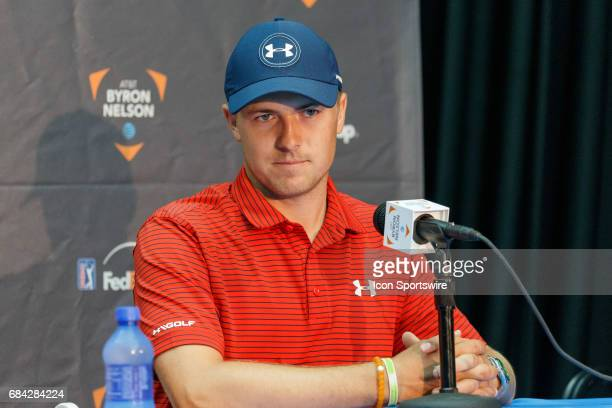 Local favorite Jordan Spieth answers questions during a press conference prior to the ATT Byron Nelson PGA golf tournament on May 16 2017 at the TPC...