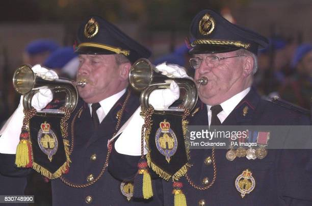 Local firemen at the Menin Gate in Ypres Belgium play the 'Last Post' for the 25000th 'Last Post' ceremony which was attended by The Duke of...