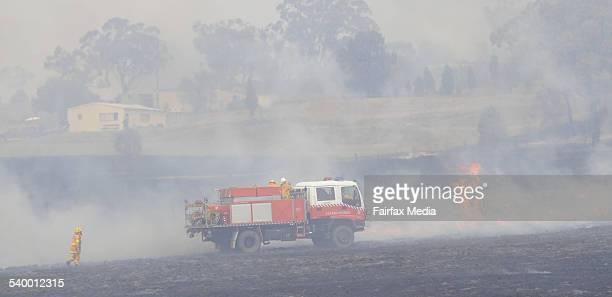 Local firemen fight a bushfire that has broken out in scrub near Gunnedah NSW