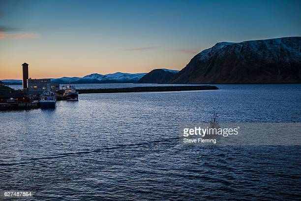 Local fishing boat leaving Honningsvag, Northern Norway.