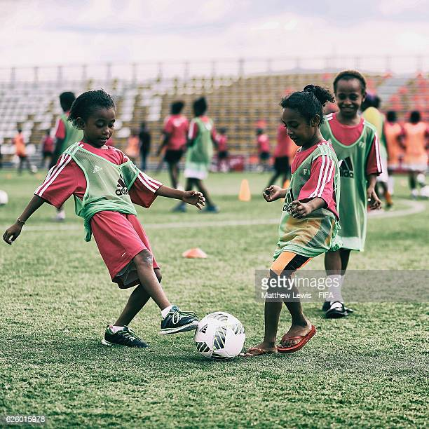 Local Girls in action during a 'Live Your Goals' event during the FIFA U20 Women's World Cup Papua New Guinea 2016 at the PNG FS Stadium on November...