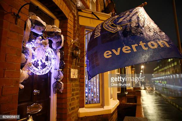 A local house displays Christmas decorations prior to kickoff during the Premier League match between Everton and Arsenal at Goodison Park on...