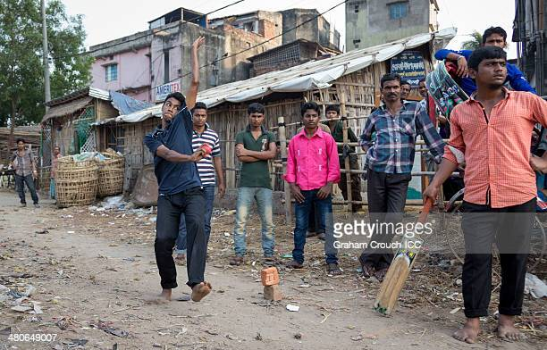 Local kids play street cricket in the suburbs of Chittagong during the ICC World Twenty20 Bangladesh 2014 on March 26 2014 in Chittagong Bangladesh