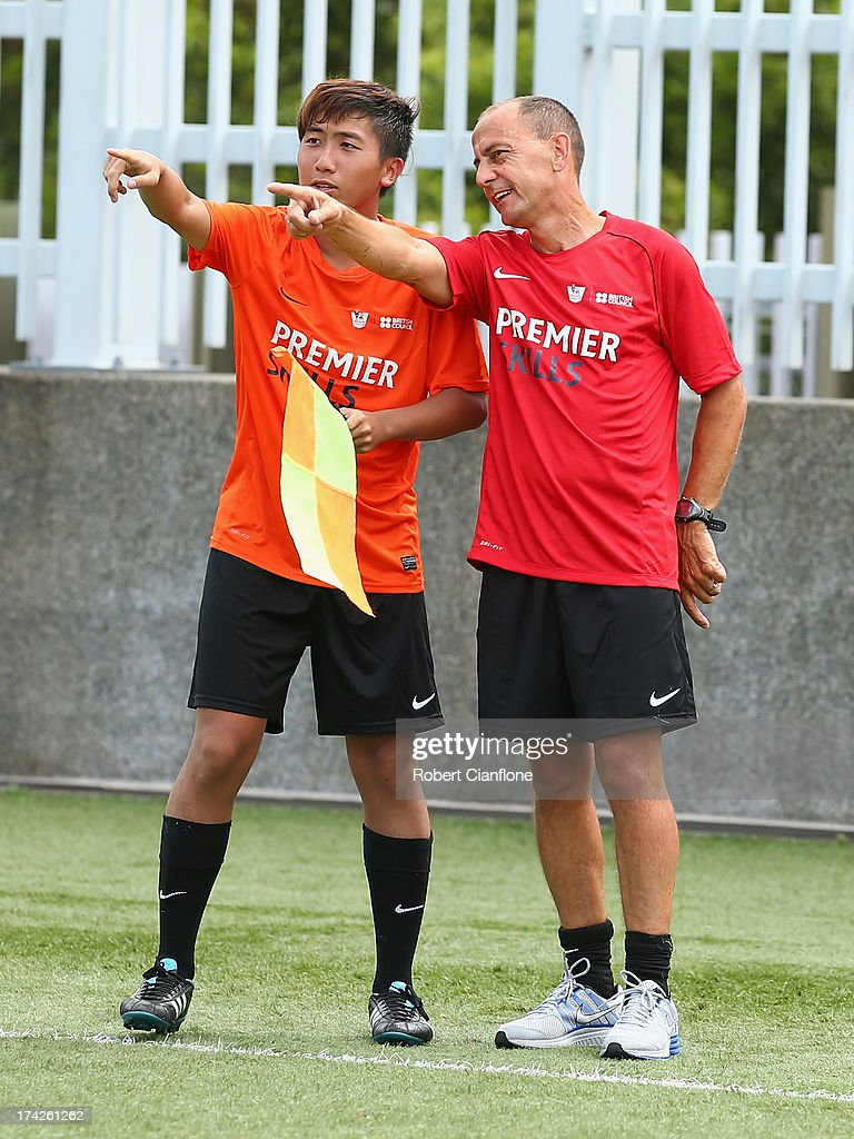 Local linesmen are taught the finer points of the game during the Premier Skills and Creating Chances open day on July 23, 2013 in Hong Kong, Hong Kong.