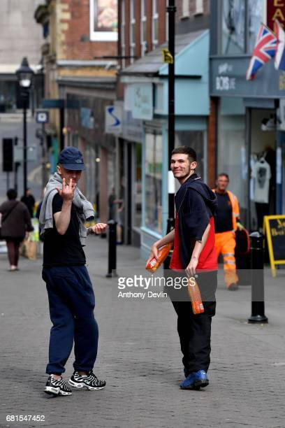 A local man gestures to the camera in Rotherham ahead of a visit from Labour Party leader Jeremy Corbyn later today on May 10 2017 in Rotherham...