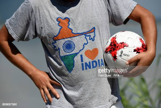 Local man hold a matchball during the FIFA U17 World Cup India 2017 tournament on October 10 2017 in Guwahati India