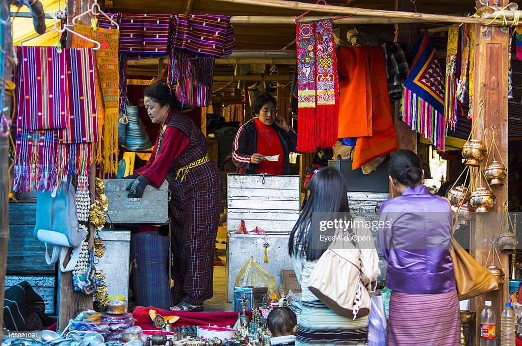 Local marketplace with clothes, souvenirs, trade and craft tools on November 18, 2012 in Thimphu, Bhutan.