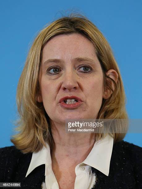 Local Member of Parliament Amber Rudd speaks at SAGA on February 23 2015 in Hastings England Mr Cameron in later speech at SAGA stated that universal...