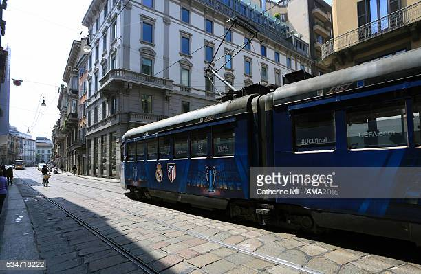 A local Milan tram with UEFA Champions League branding ahead of the final at Stadio Giuseppe Meazza on May 27 2016 in Milan Italy