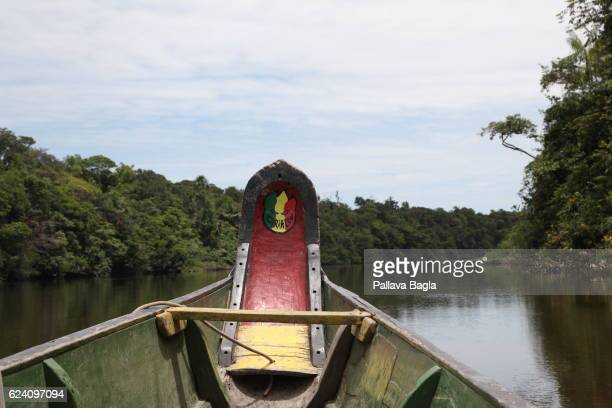 Local motifs on the boat that cruises on the Amazon River French Guiana is haven for plants and animals with ninety percent of the area under...