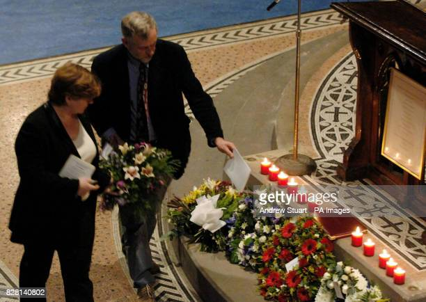 Local MPs Emily Thornberry and Jeremy Corbyn lay a wreath at a shrine to twelve citizens of Islington inside the Union Chapel in London Thursday...