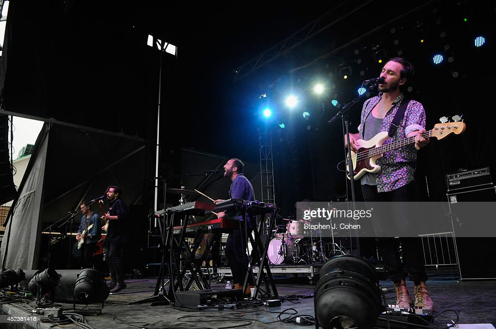 Local Natives performs during the 2014 Forecastle Music Festival at Louisville Waterfront Park on July 18, 2014 in Louisville, Kentucky.
