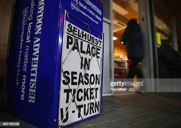 A local newspaper headline is displayed prior to the Barclays Premier League match between Crystal Palace and Newcastle United at Selhurst Park on...