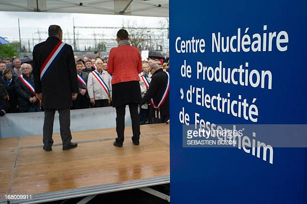 Local officials gather to protest against the decision to close the nuclear powerplant of Fessenheim on May 4 2013 in Fessenheim eastern France AFP...