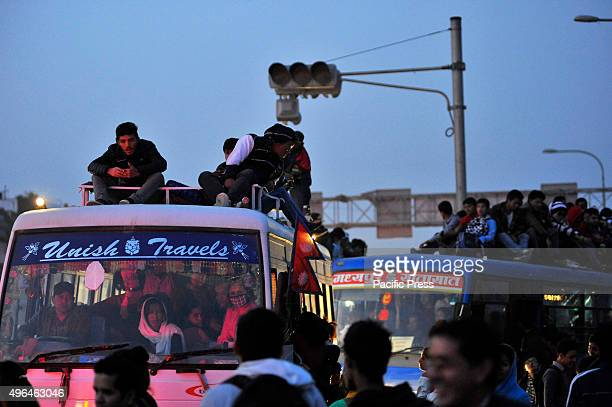 Local Passengers travel on overcrowded public buses as limited public transportation is running due to an ongoing fuel crisis in Kathmandu As from...