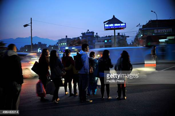 Local Passengers waiting for public buses as limited public transportation is running due to an ongoing fuel crisis in Kathmandu As from the past few...
